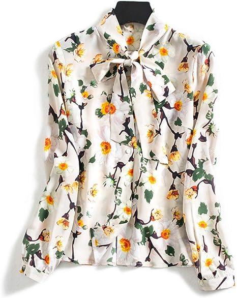 XCXDX Camisa Estampada De Seda para Mujer, Ropa De Trabajo, Blusa con Lazo, Top Ligero.: Amazon.es: Deportes y aire libre