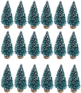 SUNREEK 24 Pieces Artificial Mini Christmas Sisal Snow Frost Trees with Wood Base Bottle Brush Trees Plastic Winter Snow Ornaments Tabletop Trees for Christmas Party Home Decoration (Blue-Green)