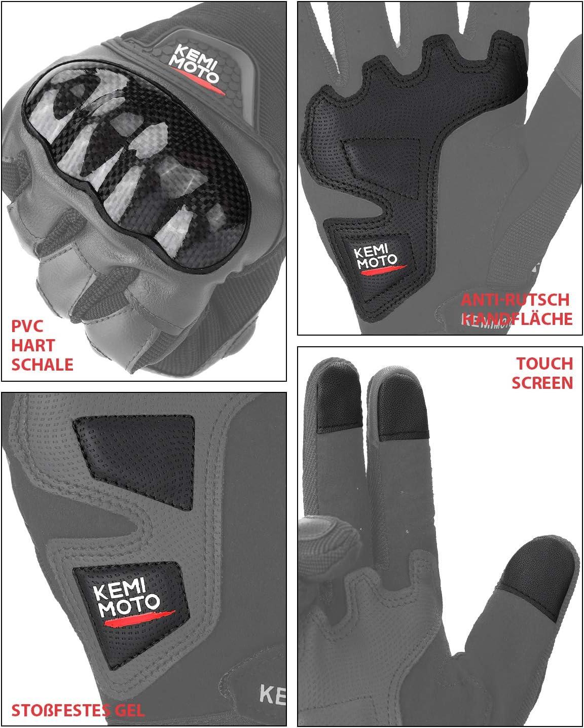Motorradhandschuhe 3 Fingerspitzen Touchscreen Sommer Handschuhe Mit Knöchelhülle Atmungsaktive Fahradhandschuhe Ideal Für Motorrad Radfahren Camping Outdoor Sportsaktivität Sport Freizeit