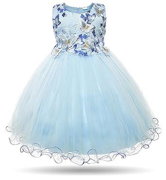 Amazon.com: Cielarko Girls Dress Flower Kids Butterfly Wedding Party ...