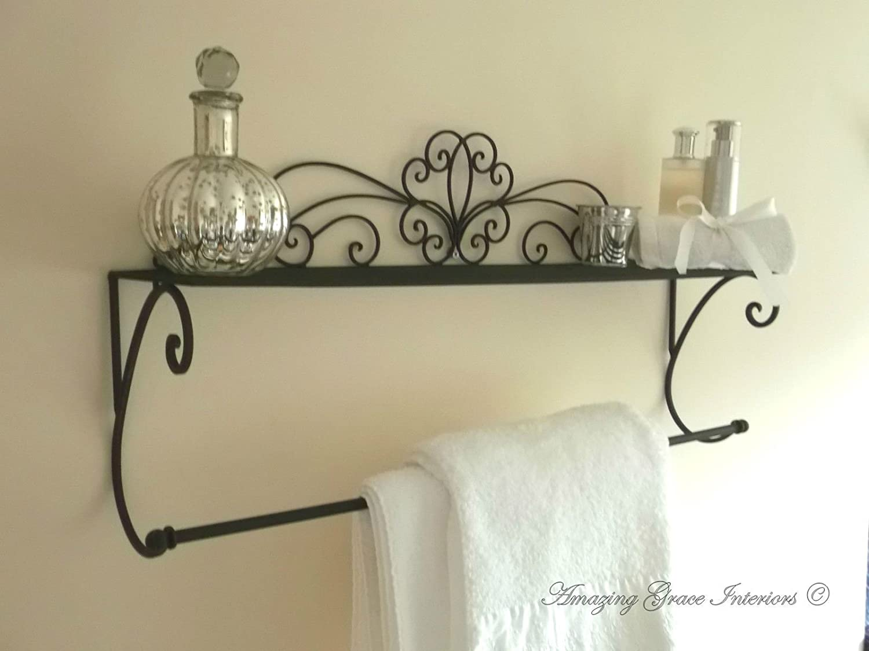 Porta Asciugamani Bagno Shabby : Shabby chic muro scaffali porta asciugamani bagno in stile vintage