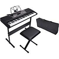 LAGRIMA 61 Key Portable Electric Piano Keyboard - Music Keyboard with Headphones, Adjustable H Stand and Stool, Bag…