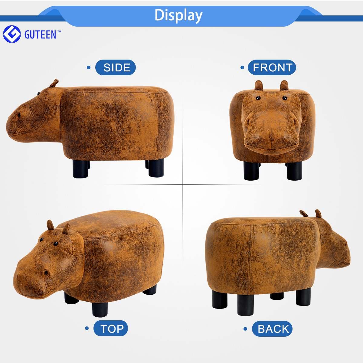Guteen Upholstered Ride-on Toy Seat Ottoman Footrest Stool with Vivid Adorable Animal-Like Features(Brown Hippo) by GUTEEN (Image #2)