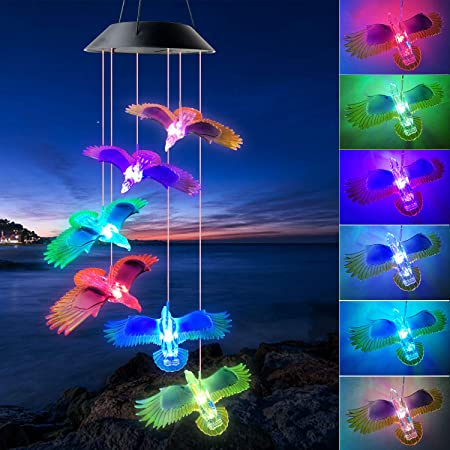 Amazon Com Shangtianfeng Black Eagle Solar Wind Chimes Outdoor Gardening Gifts For Mom Unique Birthday Gifts For Women Who Has Everything Mother Gifts Gifts For Girlfriend Valentine Gifts For Wife Garden