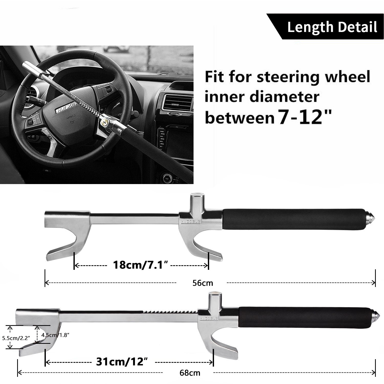 Universal Anti-Theft Clamp Heavy Duty Vehicle Safety Rotary Adjustable Lock Self-defense with 3 Keys Steering Wheel Lock