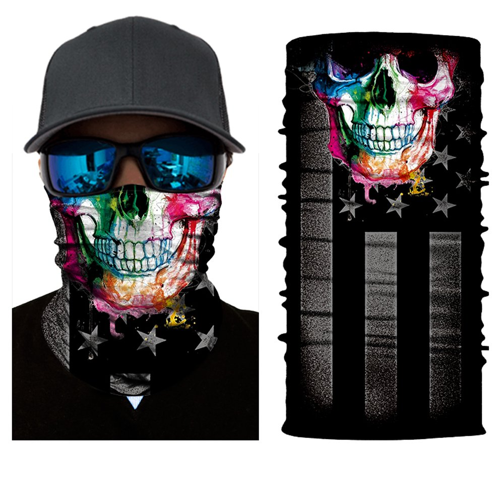 12-in-1 Magic Scarf,Skeleton Skull Flag Seamless Bandana, Face Mask,fishing mask, Thin Ski Mask, Neck Warmer Balaclava Bandana for Raves, Dust, Riding Bike, Motorcycle, Outdoor Activities Outdoor Activities (rainbow) China