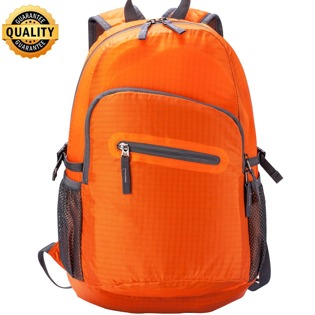 Hiking Backpack Fold UP Back Pack Small Water Resistant Backpack Hiking Bookbags for Travel Colapsable Lightweight Backpack Camping Backpack for Men and Women, Assorted Colors Orange& Black WOT I