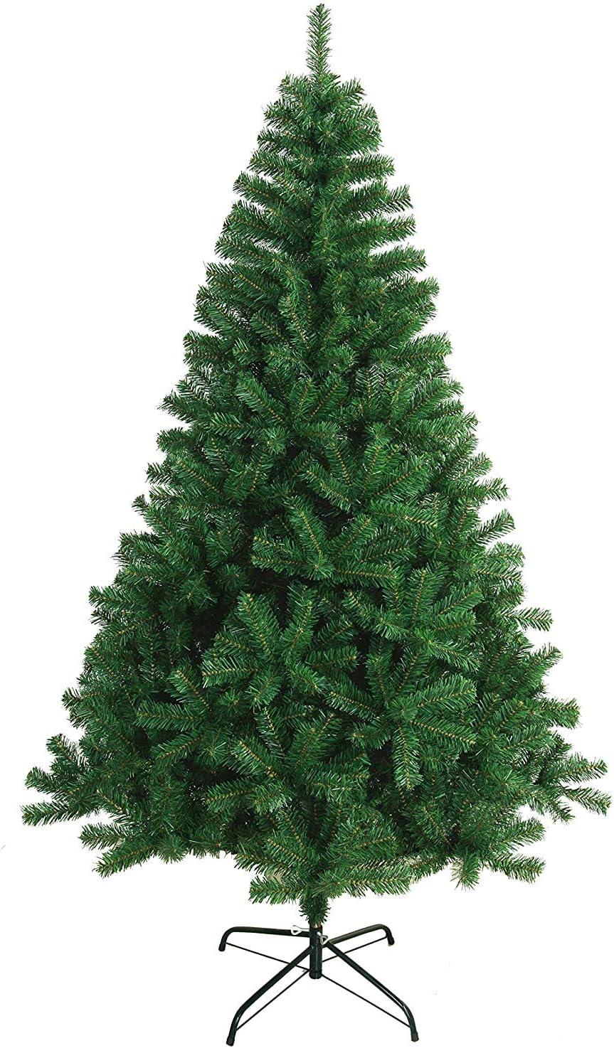 TIENDA EURASIA® Árbol de Navidad - Árboles de Navidad Artificiales - Soporte de Pie Metálico - Medidas 90-210 cm - Colores Verde y Blanco - Fácil Montaje (Verde, 120CM)