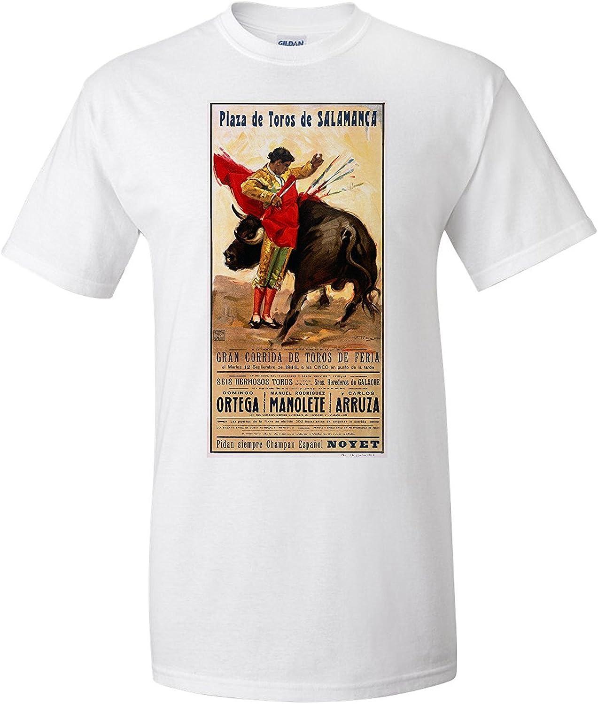 Plaza de Toros de Salmanca Vintage Poster (artist: Reus) Spain c. 1944 (Premium T-Shirt): Amazon.es: Ropa y accesorios