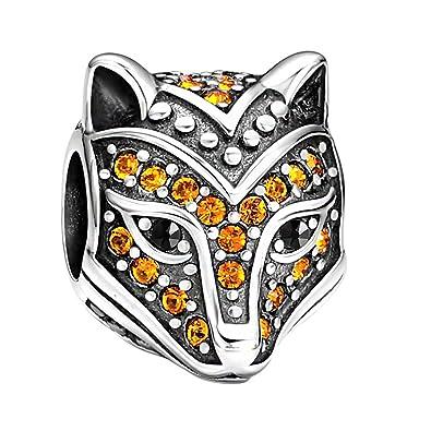 5586f3312 SOUFEEL Fox Charm for Bracelet and Necklace 925 Sterling Silver Orange  Swarovski Animal Talisman Bead Charms