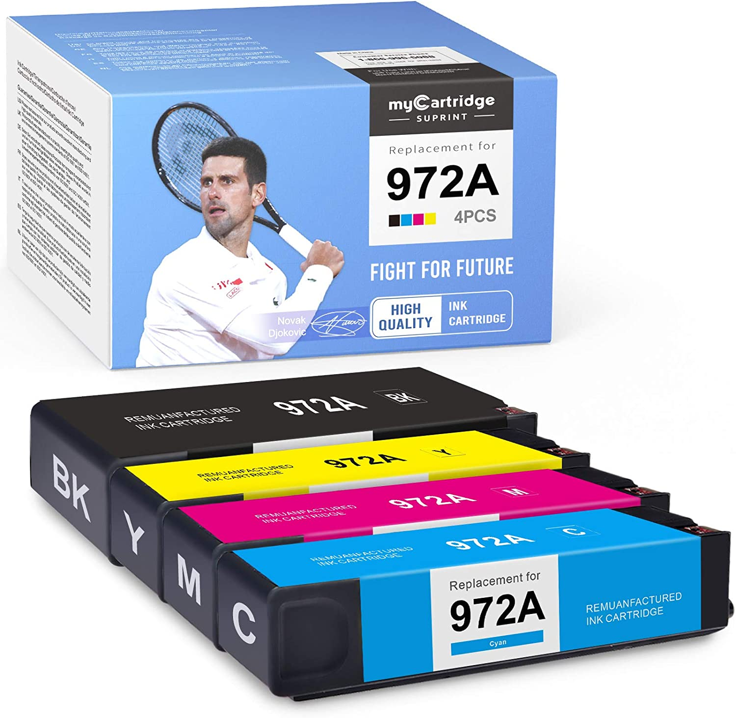 myCartridge SUPRINT Remanufactured Ink Cartridge Replacement for HP 972A 972 A Pagewide MFP 377dw 377dn Pro 352dn 477dw 577dw 452dw 552dw 552dn Managed P55250dw (Black Cyan Magenta Yellow, 4 Pack)