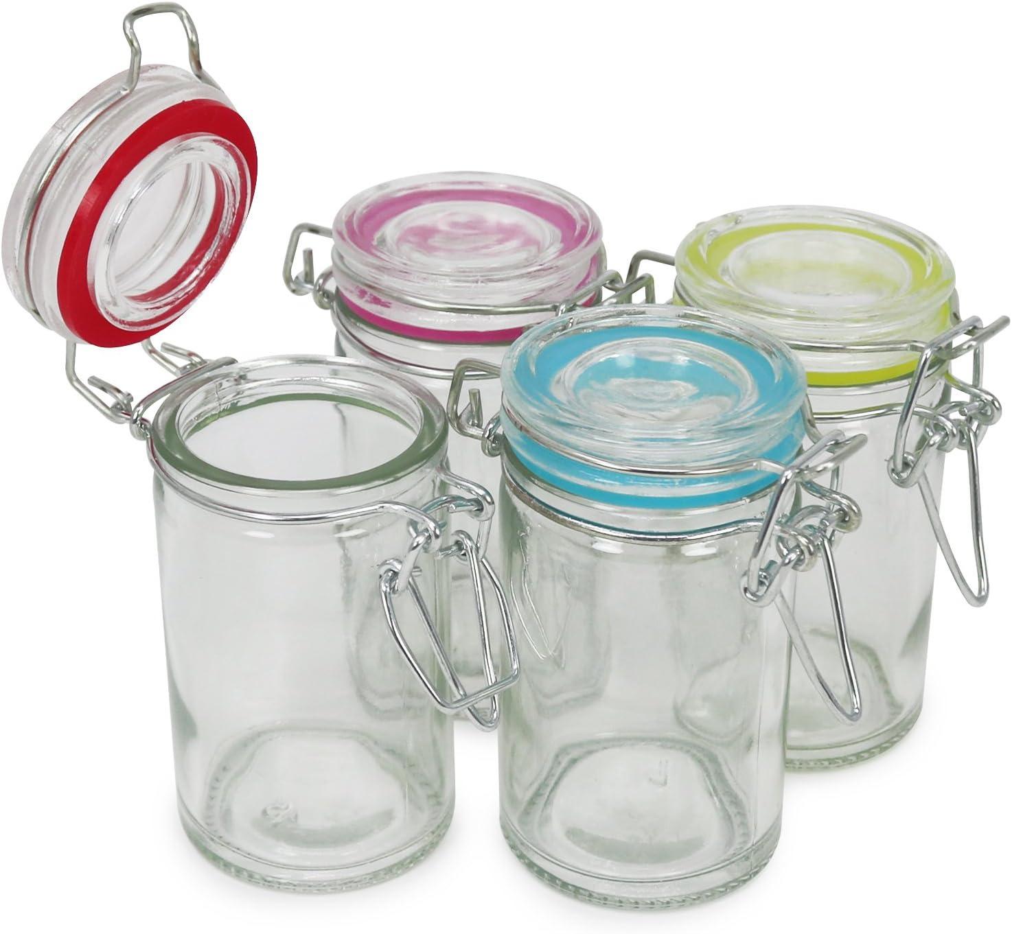 08 piezas - 60 ml 60 ml COM-FOUR/® tarro de alba/ñil 8x con cierre de clip vaso de alambre con anillo de goma en diferentes colores
