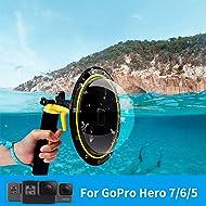 TELESIN Dome Port with Pistol Trigger T05-for Hero 2018, Hero 6, Hero 5 Black