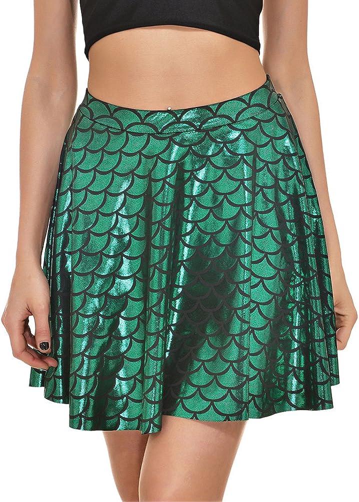 NUREINSS Costume da Sirena Donna Gonna da Donna a Forma di Pesce Gonna Carina a Forma di Mini Gonna Svasata a Sirena