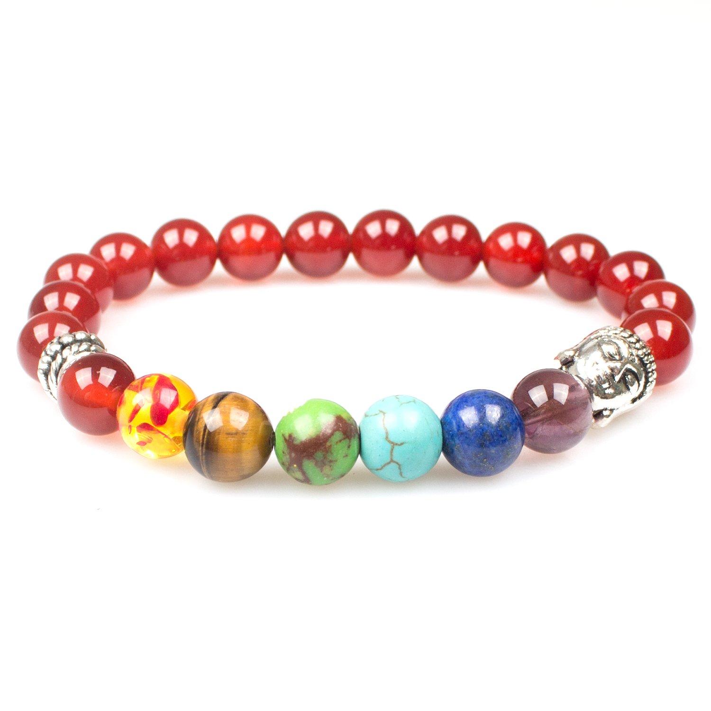 PWMEN Women Men 7 Chakras Energy Stone Mala Beads with Sliver Buddha Stretch Bracelets 7.08 Friendship Bracelets Semi Precious Stone Bracelet Chakra Ctystal Healing Balancing Reiki
