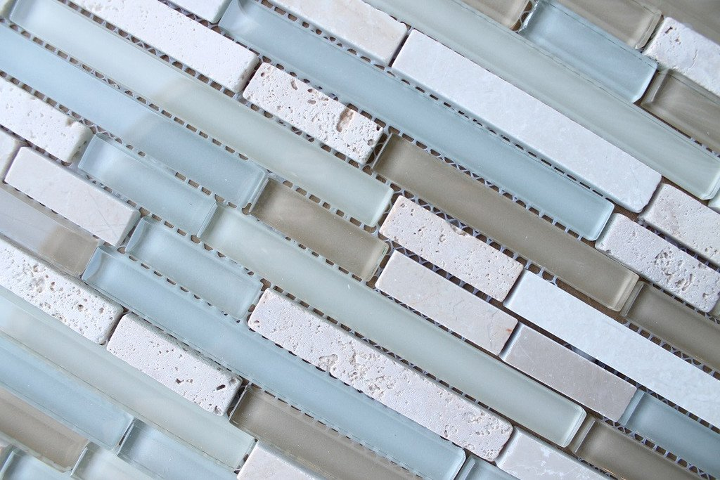 10 Sq Ft - Bliss Spa Stone and Glass Linear Mosaic Tiles - bathroom walls/ kitchen backsplash