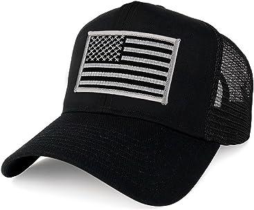 f568c653d5c Armycrew XXL Oversize Black Grey USA Flag Patch Mesh Back Trucker Baseball  Cap