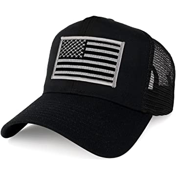 51163594 Armycrew XXL Oversize Black Grey USA Flag Patch Mesh Back Trucker Baseball  Cap