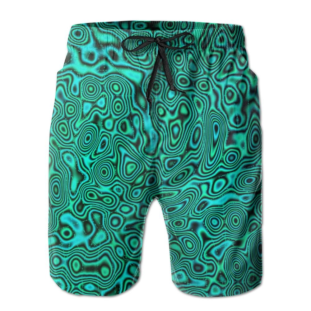Mens Green Trippy Summer Breathable Quick-Drying Swim Trunks Beach Shorts Cargo Shorts