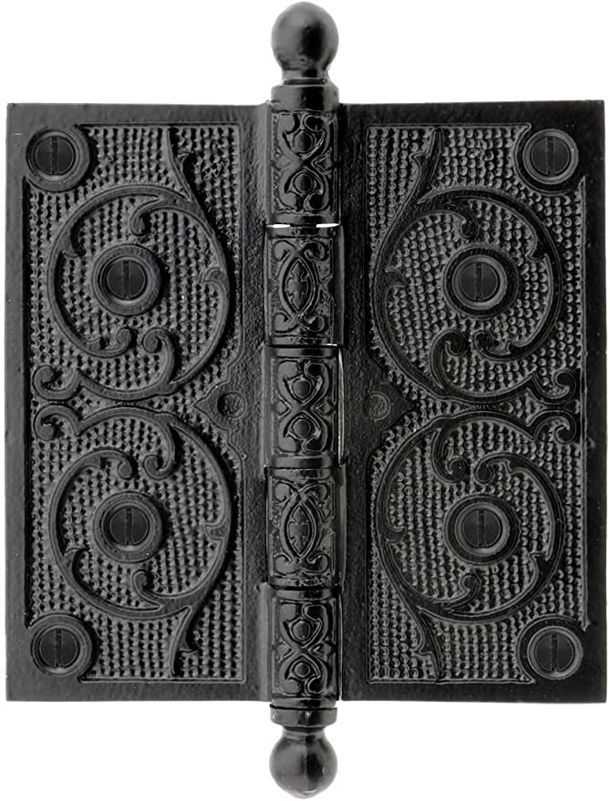 House of Antique Hardware W-04HH-100-BT Cast Iron 3 Ball Tip Hinge with Decorative Vine Pattern in Matte Black