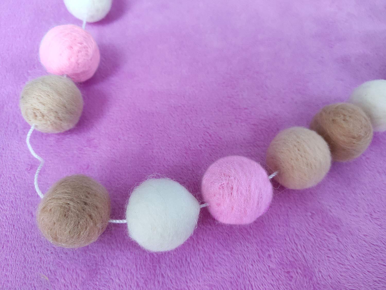 Etgu Handmade Wool Felt Ball Garland 1Inch//2.5cm,9 Feet Lenght,24 PCS Felt Balls Home Nursery Decor