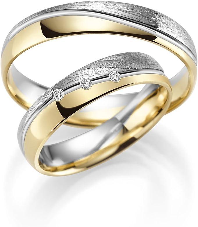 acquisto economico b4d0d 3a257 Coppia di fedi nuziali, oro 333, oro giallo e bianco, gioielli in rubino,  inclusa incisione e 3 zirconi