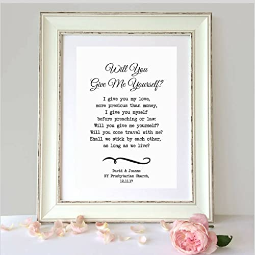 Amazon will you give me yourself personalized wedding poem quotwill you give me yourselfquot personalized wedding poem personalized anniversary gift solutioingenieria Choice Image