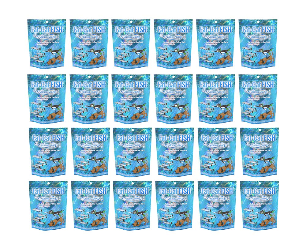 Fat-Cat Fish 100 Freeze-Dried Treats Wild Salmon. Dog Treats and Cat Treats. Made in USA. Pack of 1, 3, 6, 12, 18, 24.