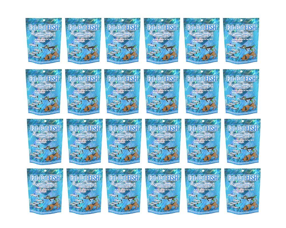 1.25 oz x 24 Fat-Cat Fish 100% Freeze-Dried Treats Wild Salmon. Dog Treats and Cat Treats. Made in USA. Pack of 24 (1.25 oz x 24)