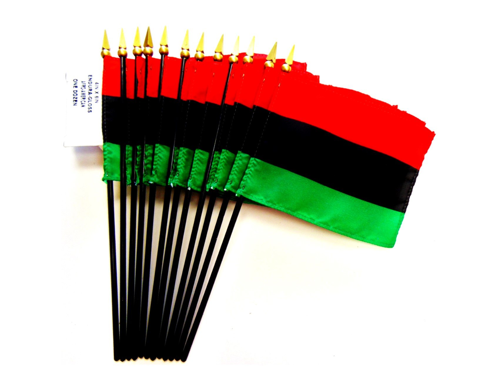 MADE IN USA!! Box of 12 Afro American 4''x6'' Miniature Desk & Table Flags; 12 American Made Small Mini African American Flags in a Custom Made Cardboard Box Specifically Made for These Flags