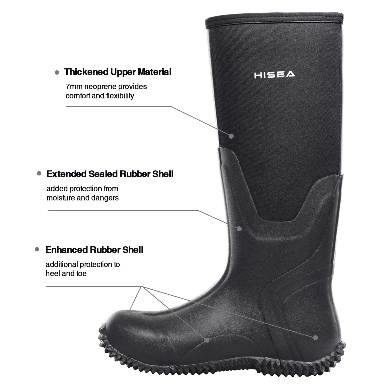 Hisea Mens Insulated Rubber Neoprene Boots Waterproof Durable Insulated Outdoor Winter Snow Rain Boots Hunting Arctic Boot Black Size 7 by Hisea (Image #3)