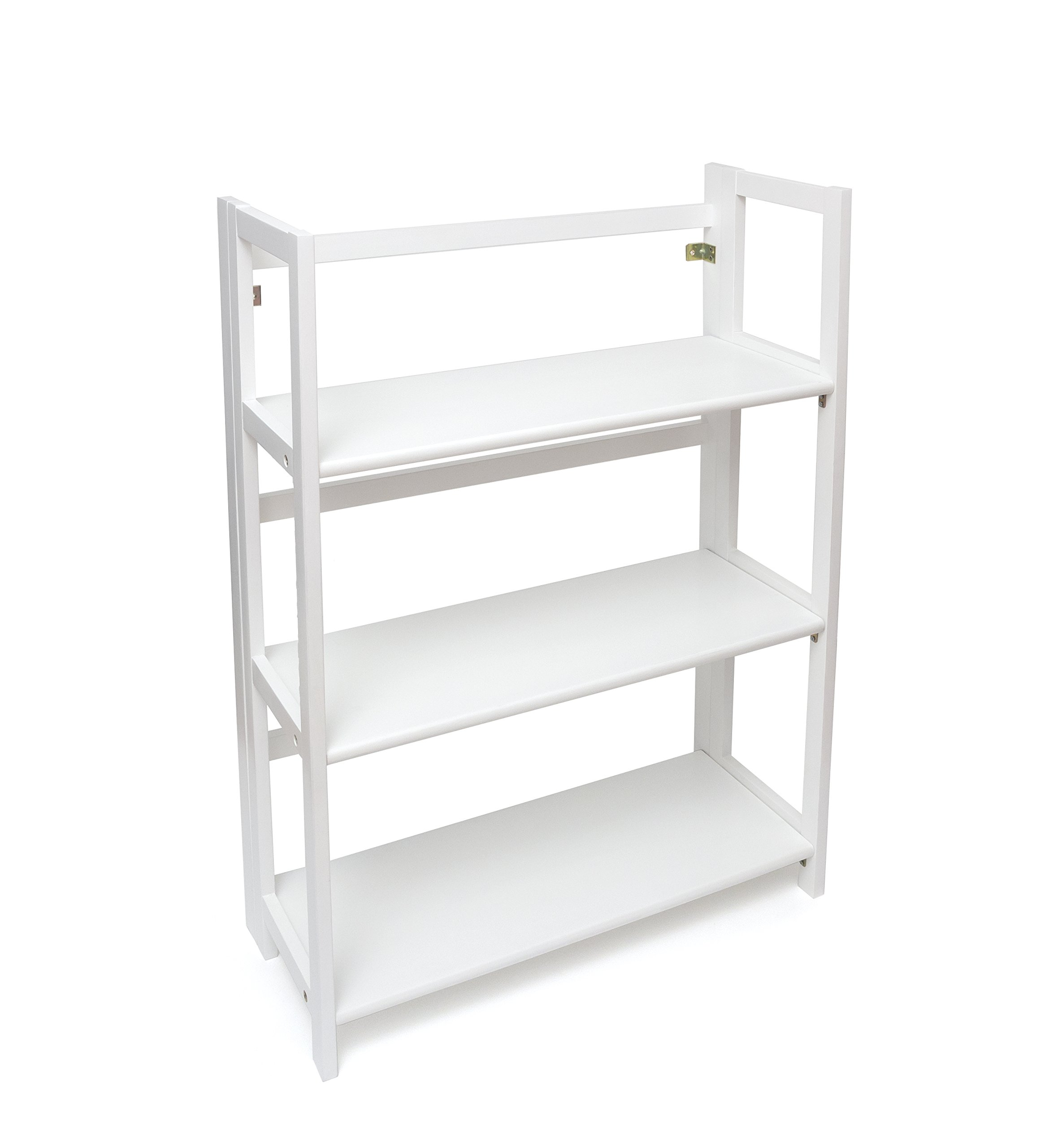 Lipper International 517W 3-Shelf Folding Bookcase, 27.25'' W x 11.5'' D x 38'' H, White Finish