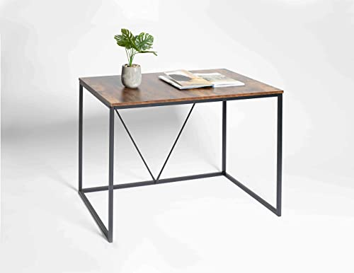 Lazyin Computer Desk, Writing Desk with Stable Metal Frame, Multifunctional Table in Home Office, Living Room, Rustic Brown