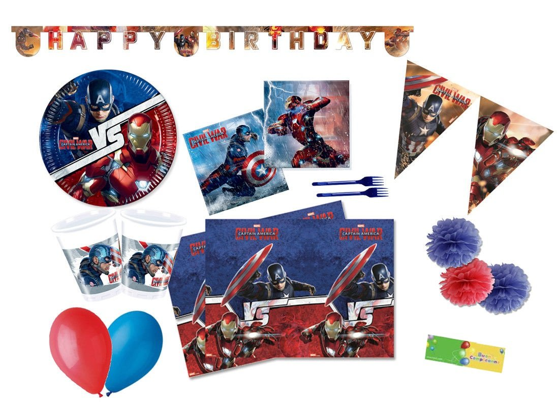 DECORATA PARTY Kit N 64 Coordinato per Compleanno Avengers Civil War