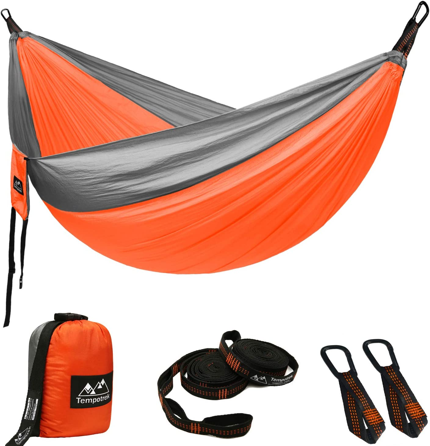 Tempotrek Double Camping Hammock Portable Indoor Outdoor Tree Hammock with 2 Hanging Straps Lightweight Nylon Portable Hammock for Backpacking, Travel, Beach and Garden