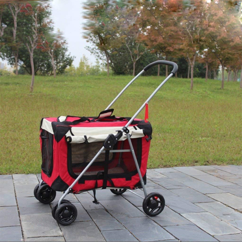 RED LLYU Dog Bag Handbag Kennel Bag cat Dog pet Stroller Foldable Washable or car (color   RED)