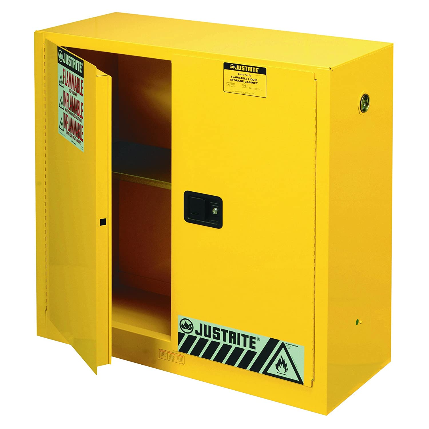 B001E1PF18 Justrite 893000 Sure-Grip EX Flammable Safety Cabinet, 2 Door, Manual Close, Dimensions (H x W x D): 44 x 43 x 18 inch (1118 x 1092 x 457 mm); 30 gal. (114L) 71sSCNSI40L._SL1500_