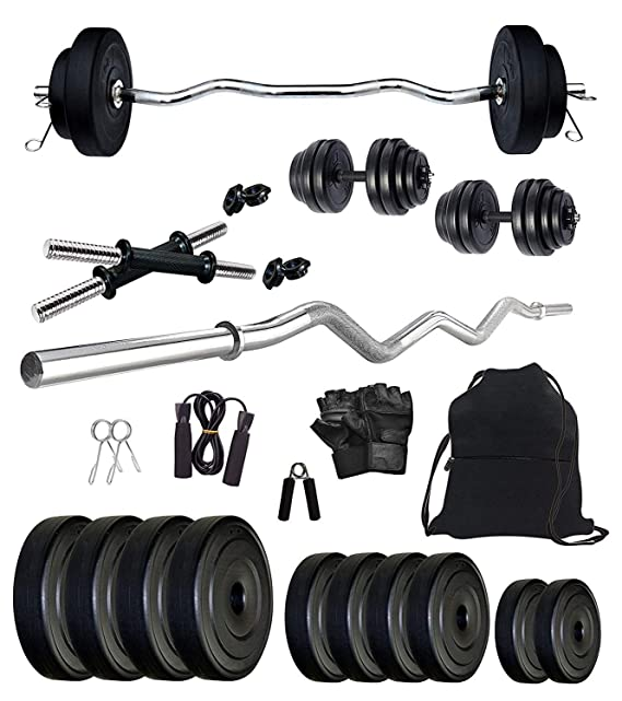 StarX Star X 30 Kg Home Gym Combo with 3Ft Curl Rod with Dumbbells and Accessories Exercise   Fitness Sets Exercise Sets