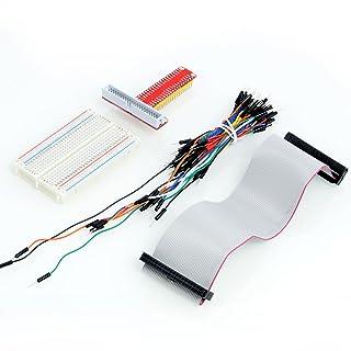Neuftech GPIO T-Cobbler Kit incluye 40pin Breakout + 400 Breadboard contactos + 40pin cable GPIO + 65pcs Jumper cables para Raspberry Pi