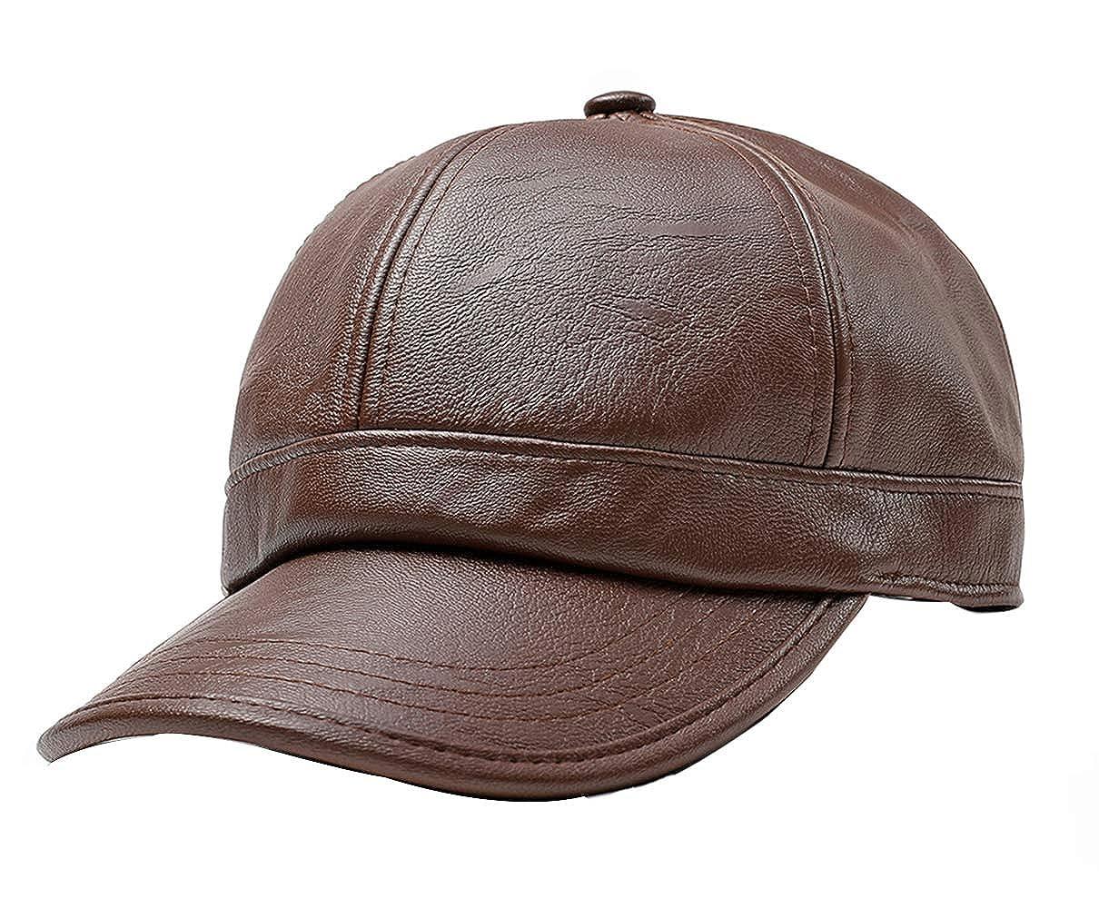be254996e661ac FENGFA Baseballmütze PU Leder Cap Herren Herbst und Winter Kappe mit  Ohrenklappen(56-60 cm) (Braun): Amazon.de: Bekleidung