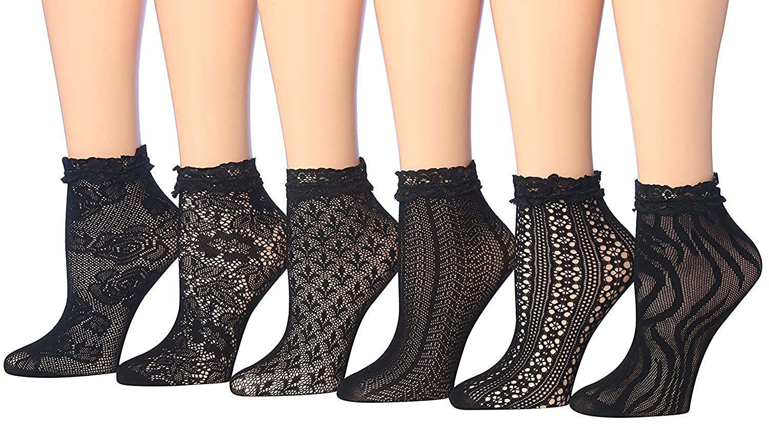 c59b7eef3 Isadora Paccini Women s Designed Lace Anklet Socks With Trimmed Ruffle  (LA01-A-6) at Amazon Women s Clothing store
