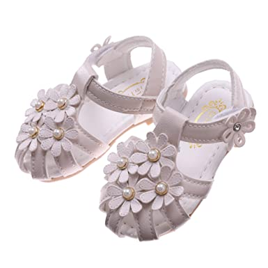 e26ce9592 Toddler Baby Girls Summer Princess Soft Leather Sandals Closed Toe Flat  Shoes (15 4M