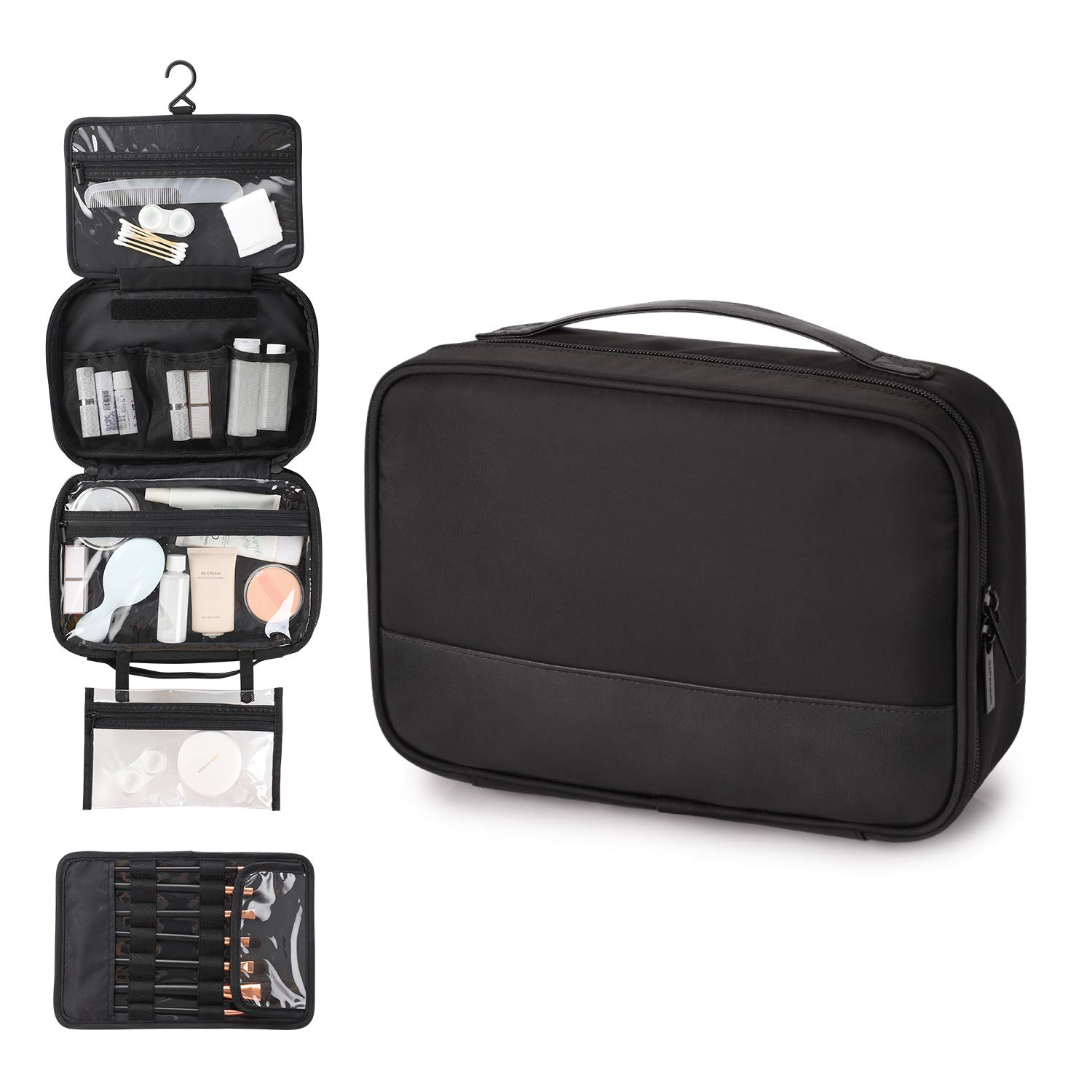 GoPenguin Hanging Travel Toiletry Bag, Women Cosmetic Makeup Organizer with Leak Proof Compartments for Shampoo, Bathroom Shower Black