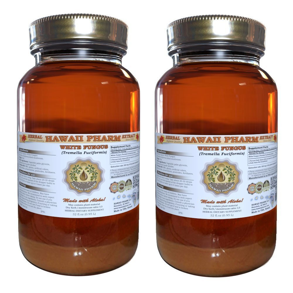 White Fungus Liquid Extract, White Fungus (Tremella Fuciformis) Mushroom Tincture, Herbal Supplement, Hawaii Pharm, Made in USA, 2x32 fl.oz