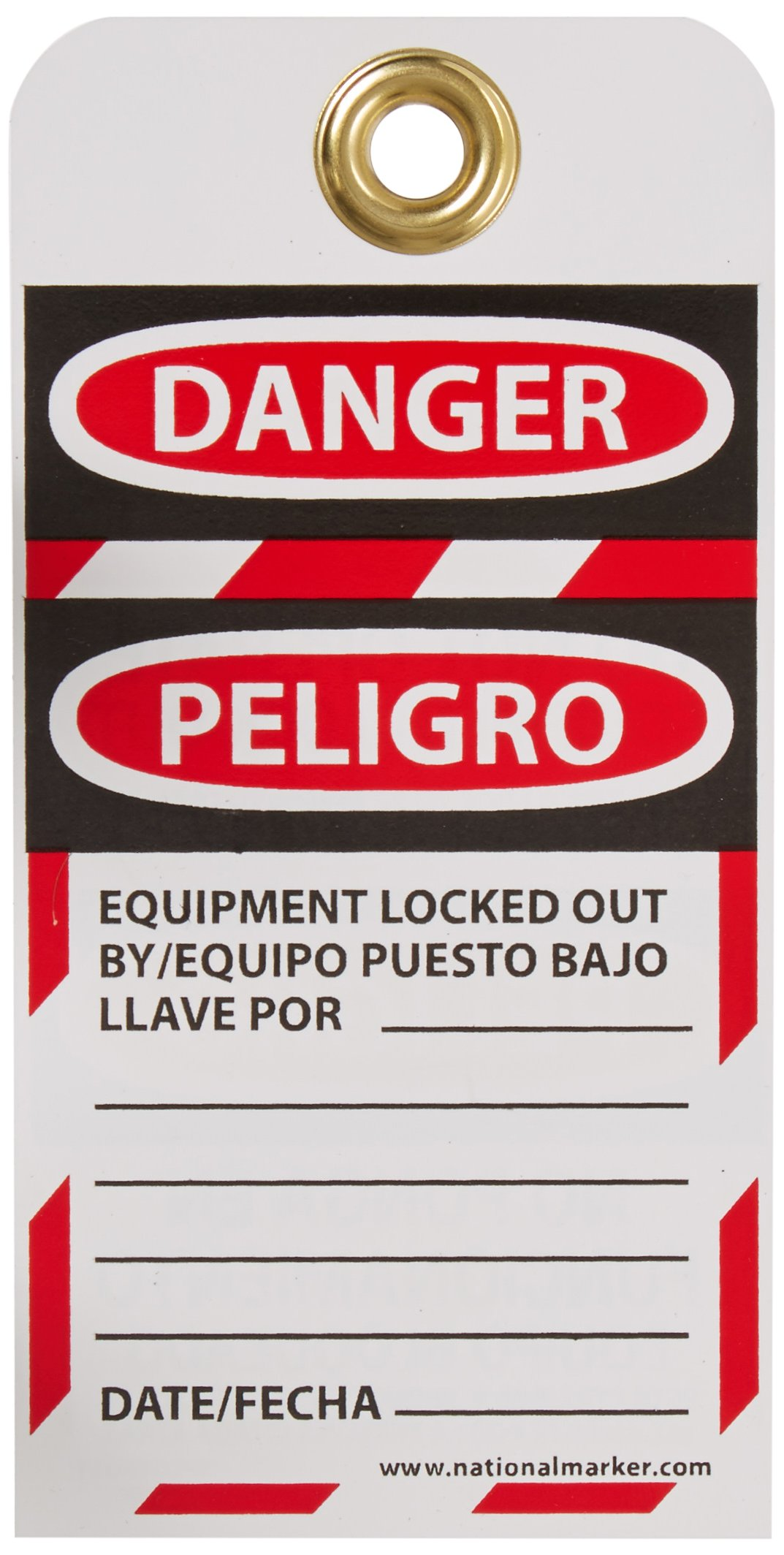NMC SPLOTAG11-25''DANGER - DO NOT OPERATE EQUIPMENT LOCK-OUT'' Bilingual Lockout Tag, Unrippable Vinyl, 3'' Length, 6'' Height, Black/Red on White (Pack of 25)