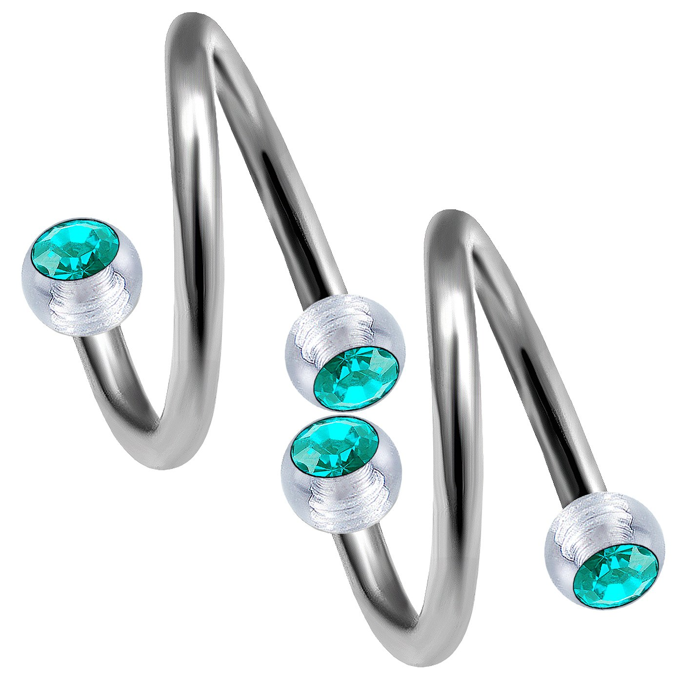 Steel Navel Body Jewelry Pair of Acrylic Twirls 4g Turquoise