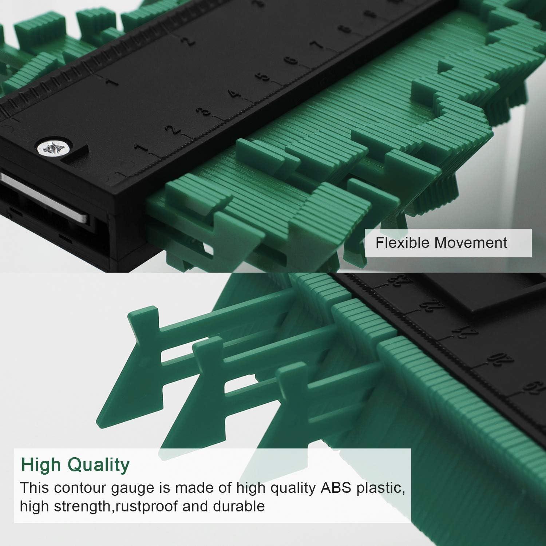 Vert LUTER Copieur de Contour 25x13.2cm Duplicateur de Contour Jauge de Contour en Plastique Outil de Mesure de Jauge de Profil/é pour Des Mesures Pr/écises
