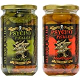 Psycho Pickles Combo - 1 x Ghost Pepper Pickled Onions 1 x Ghost Pepper Pickled Gherkins