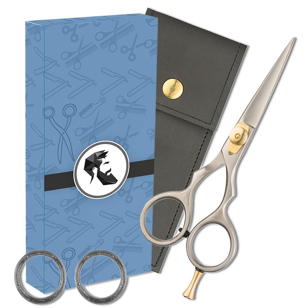 Premium 5' Japanese Steel Razor Edge Beard & Mustache Scissors with Comfort Grip for Quick & Sharp Trim of Bangs & Hair Splinters
