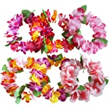 6PCS Hawaiian Wreaths Headband Tropical Luau Flower Headpiece Leis, Thicker Floral Crown for Summer Beach Pool Party Decorations Favors Supplies